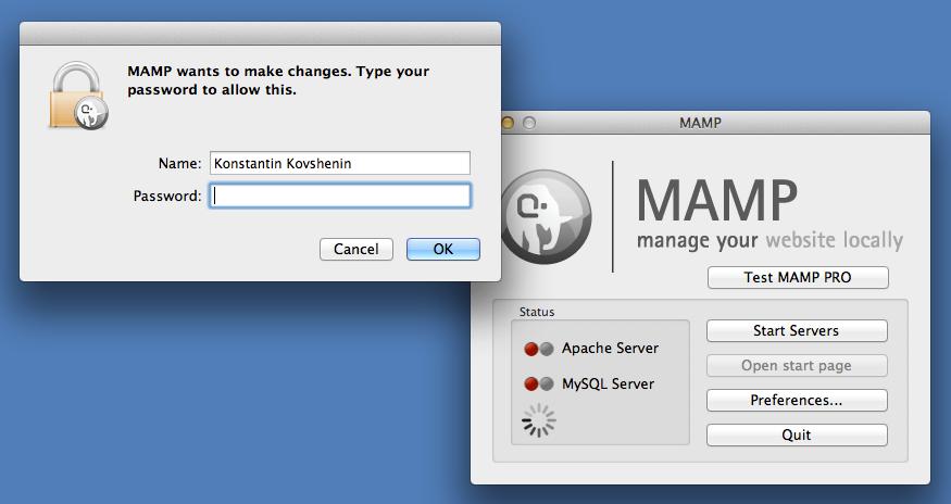 MAMP Configuration Password