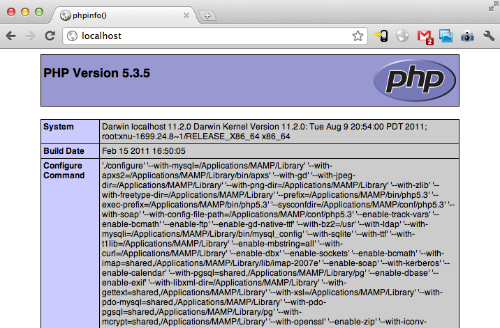 phpinfo with MAMP