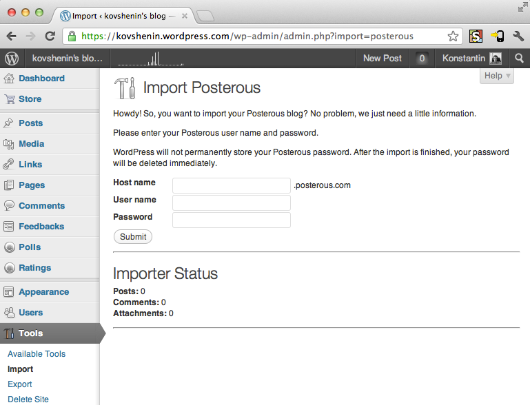 Posterous Import to WordPress.com
