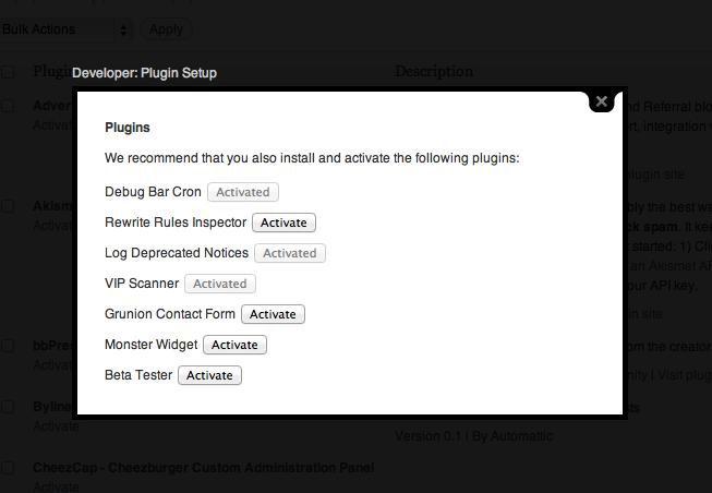 Developer Plugin for WordPress