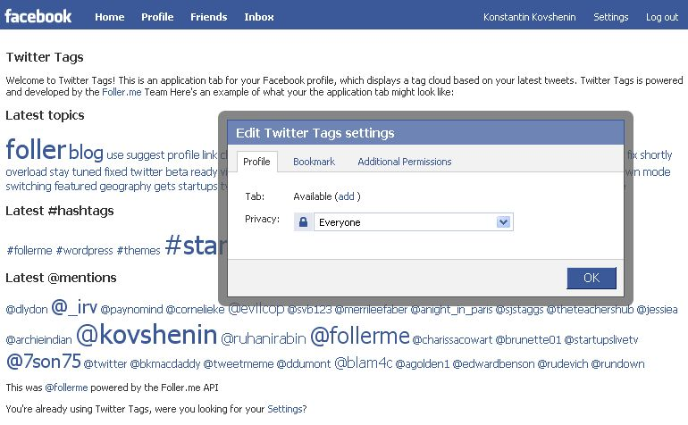 Facebook API Experiments: Twitter Tags