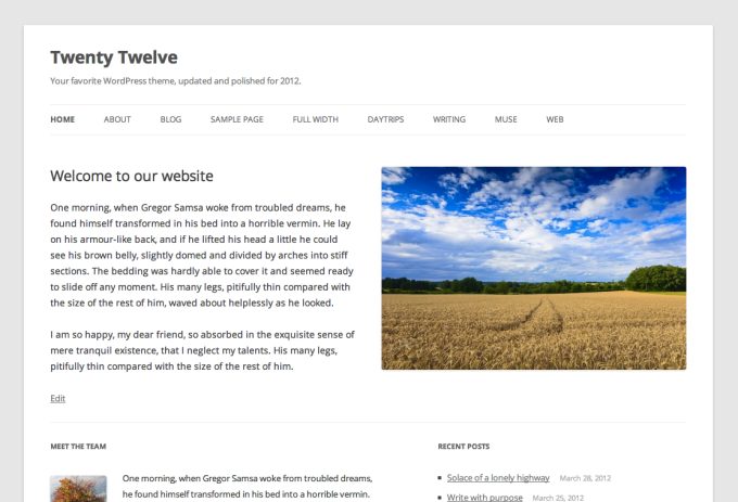 Twenty Twelve for WordPress
